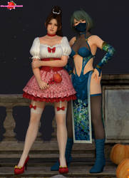 DoA Halloween party - Mai and Tamaki by Strawberry-Pink05