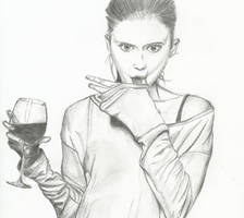 Glas of wine by Freyariana