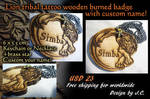 Lion tattoo wooden burned badge/tag-custom name by J-C