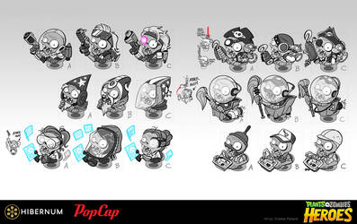 Plants vs Zombies Heroes Concepts by Kristele