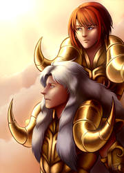 Avenir and Gateguard - Saint Seiya Zone Collab by EarthyD
