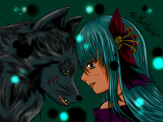 Wolf and Girl by ThePinkRabbits