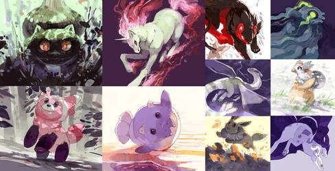 Pokemon quickie paintings by MinnaSundberg