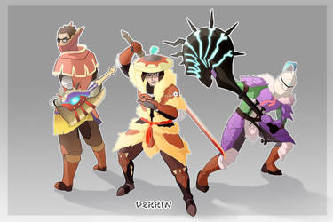 Commission (Monster Hunter hunting group) by macawnivore