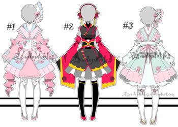 Kimono outfit adoptable batch open by AS-Adoptables