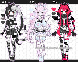 Gothic Kemonomimi Adoptables Open  LOWERED by AS-Adoptables