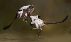 Austroraptor fight by Guindagear