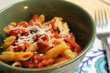 Spiced Tomato Penne With Chorizo and Garlic by jujub33ns