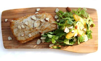 Mahi Mahi w Peach Salad and Honey-Mint Vinaigrette by jujub33ns
