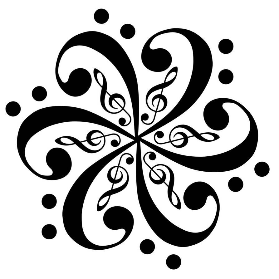 Bass Clef Flower Tattoo by ChuckDraws