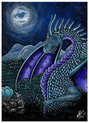 Night Dragon Gouache Painting 2018 by annafjellborg