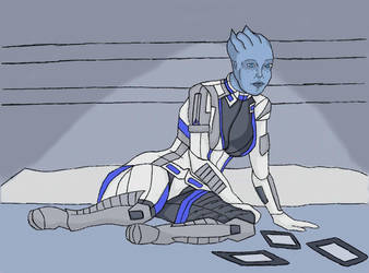 Mass Effect: Liara Studying by WarpFactor5