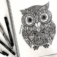 Zentangle Owl by vivianhitsugaya
