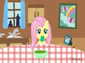 Fluttershy eating Jelly Cubes by Ragnarokia