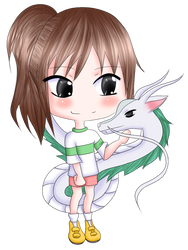 Chihiro and Haku by fryzylstyk
