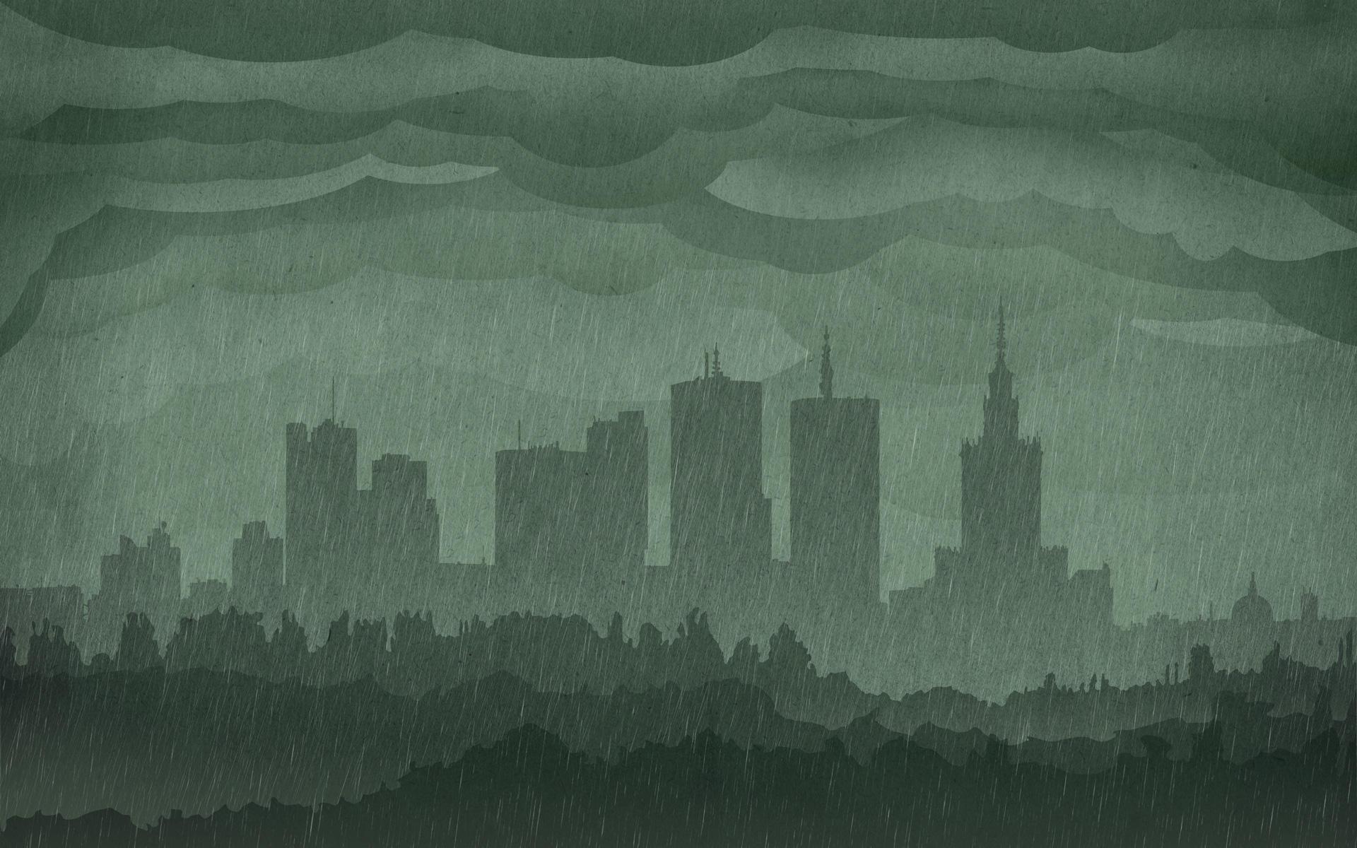 Warsaw Rainy Skyline Wallpaper by IxoliteFH