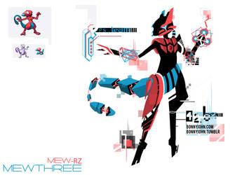 Pokemon Fusion 11 Mewthree (Porygon + Mewtwo) by BonnyJohn