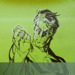 Green Lantern Post-it Note (different stages) by miroredgrave
