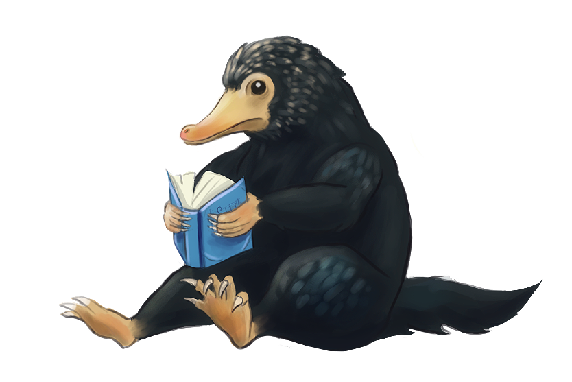 A Niffler and a Book by Maximilien-Serpent