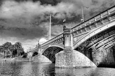 Princes Bridge BW by daniellepowell82