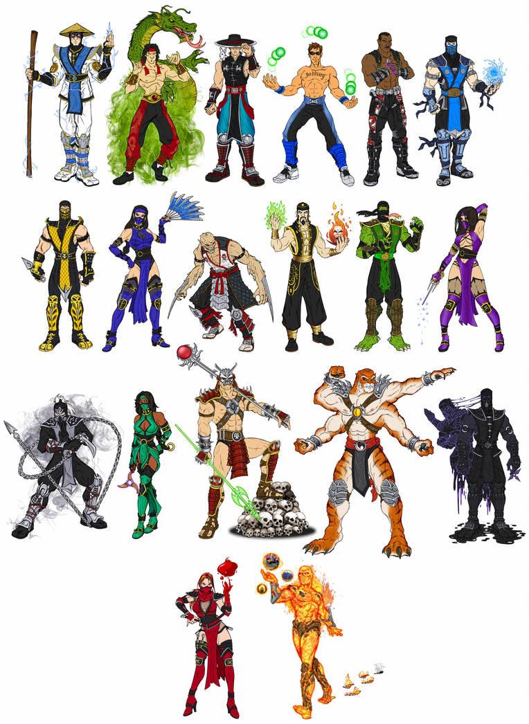 Mortal Kombat 2 - Primary Costumes (W.I.P.) by RazorsEdge701
