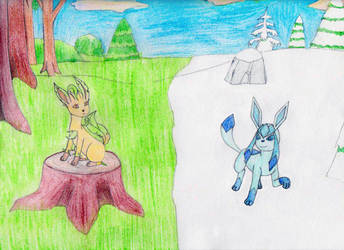 Leafeon and Glaceon by MellowSunPanther