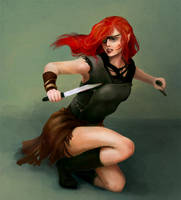Girl with knife by Owlet-in-chest