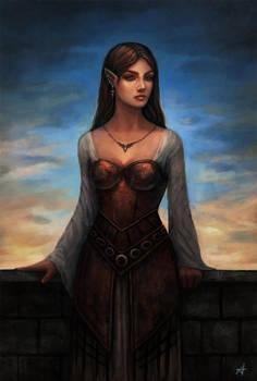 Half-elf portrait by Aerenwyn
