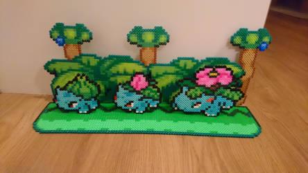 2D/3D Bulbasaur/Ivysaur/Venusaur with background by MagicPearls