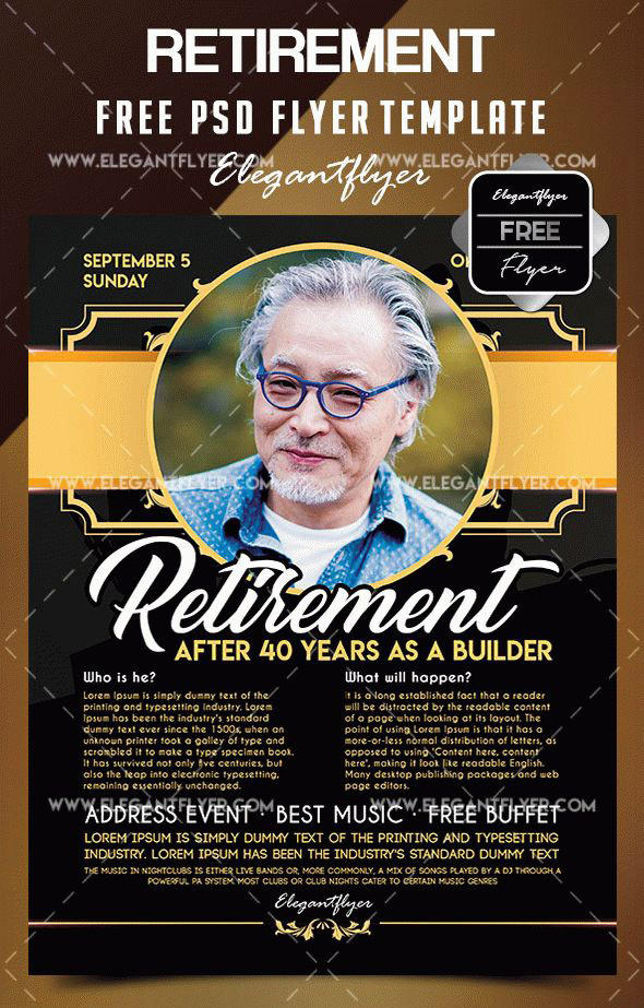 Retirement Flyer Template Free By Dotsik