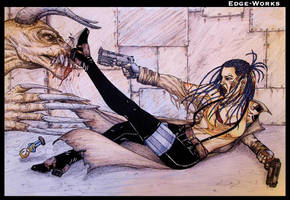 Fallout - Reina vs Deathclaw - Colour by Edge-Works