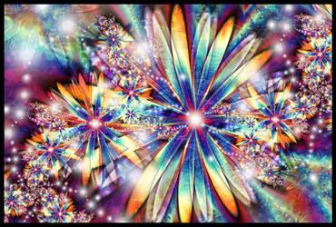 Rainbow Daisies by lindelokse