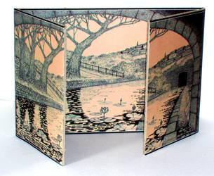 Handmade triptych card by PENANDINKDRAWINGS