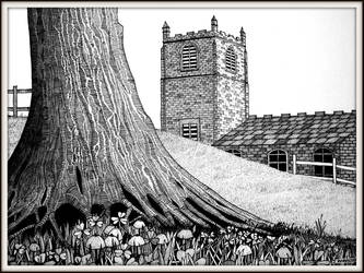 The yew tree and the church by PENANDINKDRAWINGS
