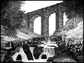 Viaduct and waterfalls by PENANDINKDRAWINGS