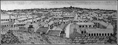 Town panorama by PENANDINKDRAWINGS