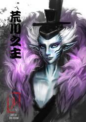Onmyoshi Fanart Portrait Blue lord by DreadJim