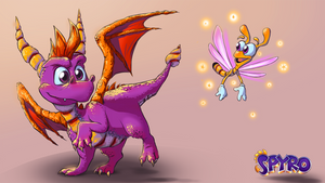 Spyro the Dragon and Sparx by VladimirJazz