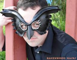 Owl leather mask by Alyssa-Ravenwood