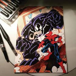 Spiderman vs Venom by Briosso
