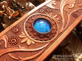 Jeweleeches Vivian Hebing: leather dog collar by Jeweleeches