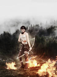 Lara Croft cosplay - Into the Fire (photomanip) by xpomverte