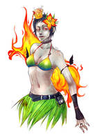 Rainbow Bikini Zombie on Fire by against-the-law