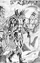Wolverine vs Sentinel by vanchoran