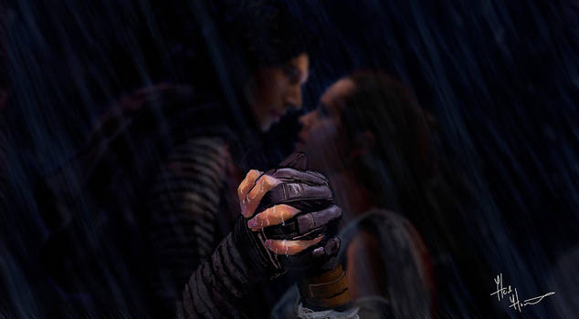 Kylo Ren and Rey Drawing (Holding Hands) by heidihastings