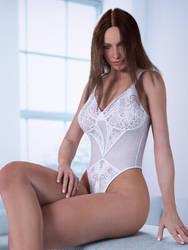 victoria's secret - white lace teddy by SaphireNishi