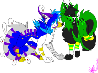 Zwei and Forgannon -commish- by Downpourpony