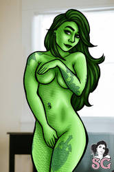 Enrapture Suicide cosplaying as Shehulk by janimutikainen