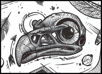 Bird skull ATC by CrazyEdzia