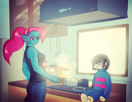 Cooking with Undyne by ShadowolfZ